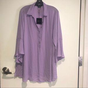 Michel Studio Collection Purple Blouse SZ 22